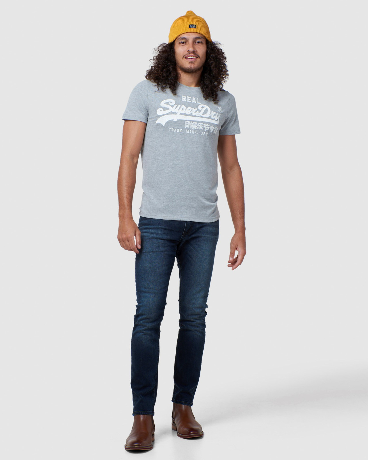 Superdry Mens Vintage Logo Embroidery Tee Grey Printed T Shirts 1