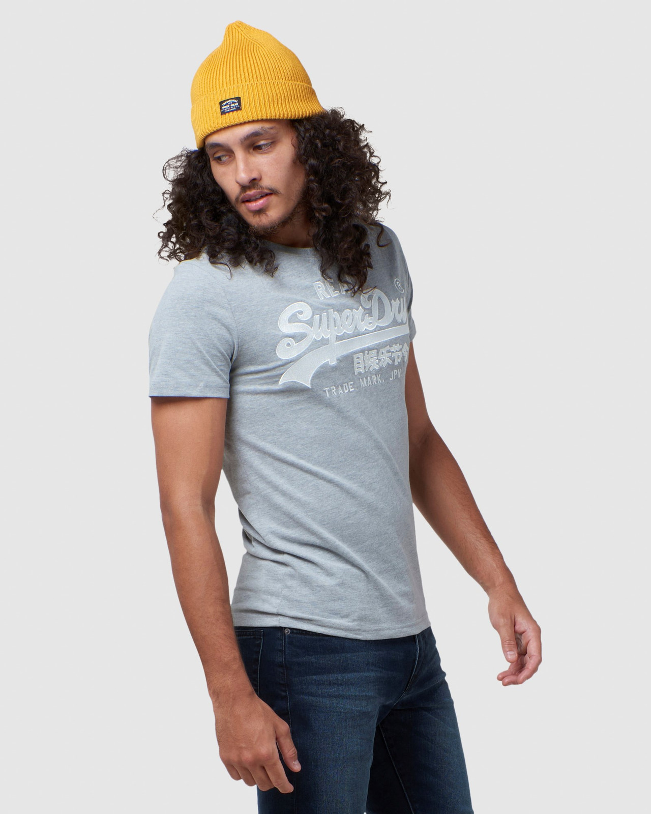Superdry Mens Vintage Logo Embroidery Tee Grey Printed T Shirts 2