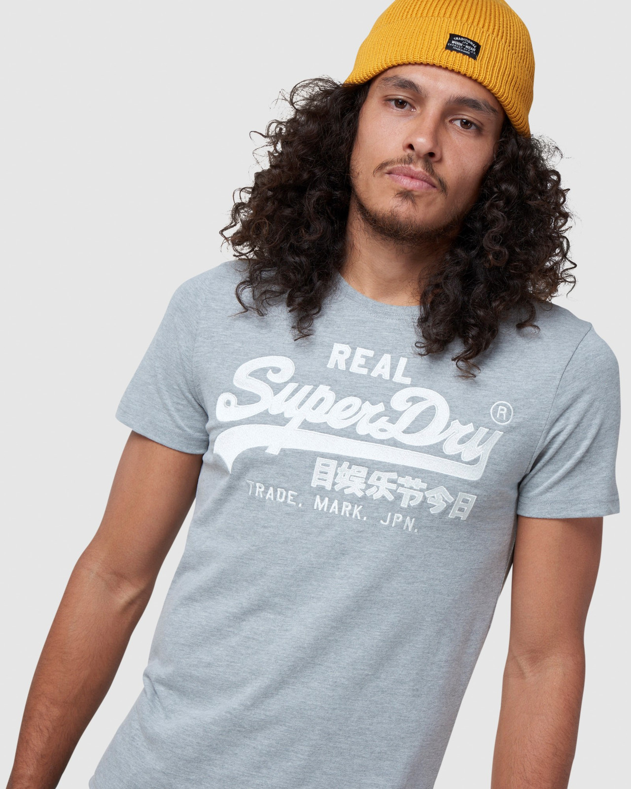 Superdry Mens Vintage Logo Embroidery Tee Grey Printed T Shirts 4