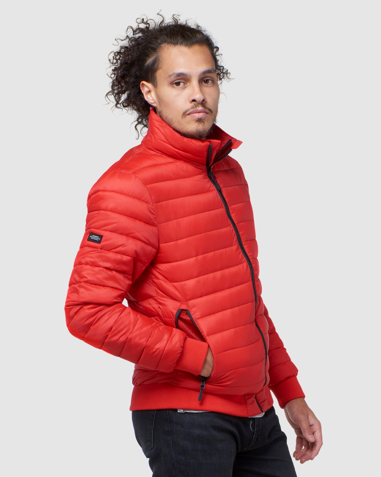 Superdry Mens FUJI BOMBER Red Puffer Jackets 5