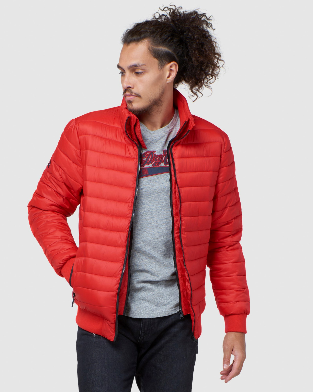 Superdry Mens FUJI BOMBER Red Puffer Jackets 1