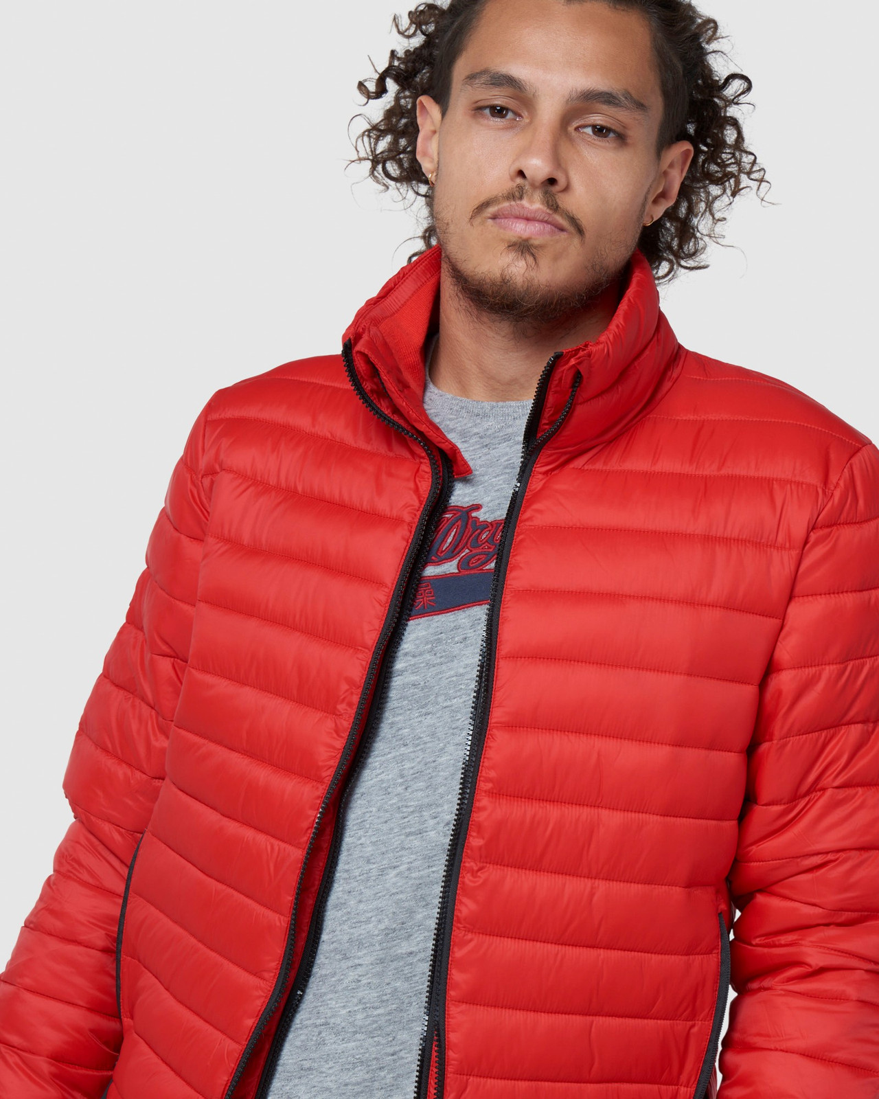 Superdry Mens FUJI BOMBER Red Puffer Jackets 11