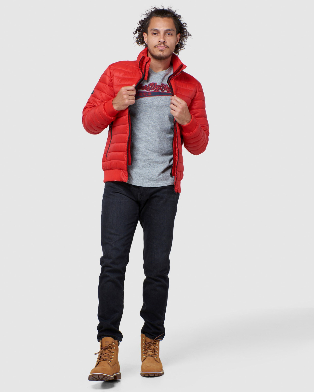 Superdry Mens FUJI BOMBER Red Puffer Jackets 3
