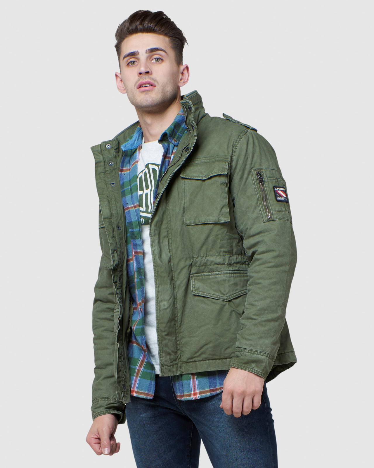 Superdry Mens CLASSIC ROOKIE JACKET Green Military Jackets 0