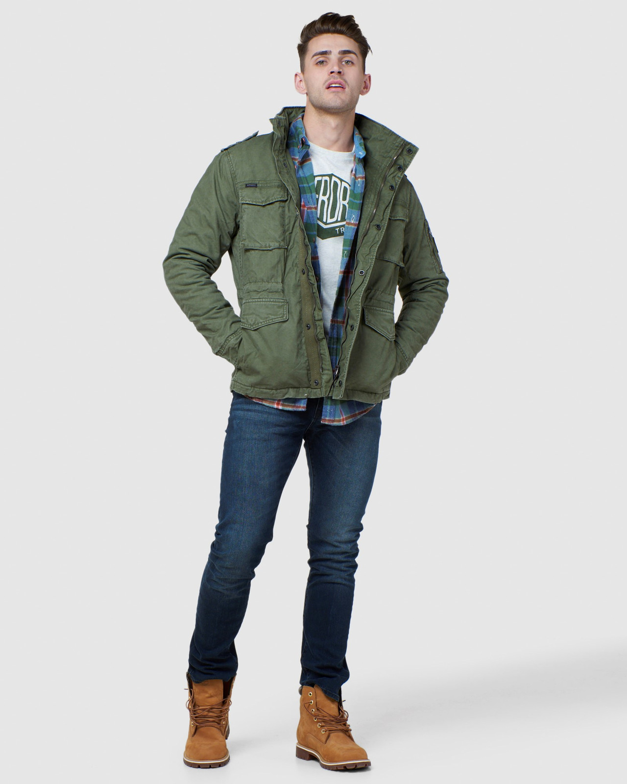 Superdry Mens CLASSIC ROOKIE JACKET Green Military Jackets 1
