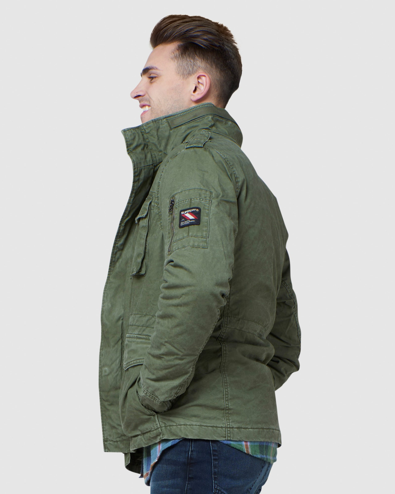 Superdry Mens CLASSIC ROOKIE JACKET Green Military Jackets 2