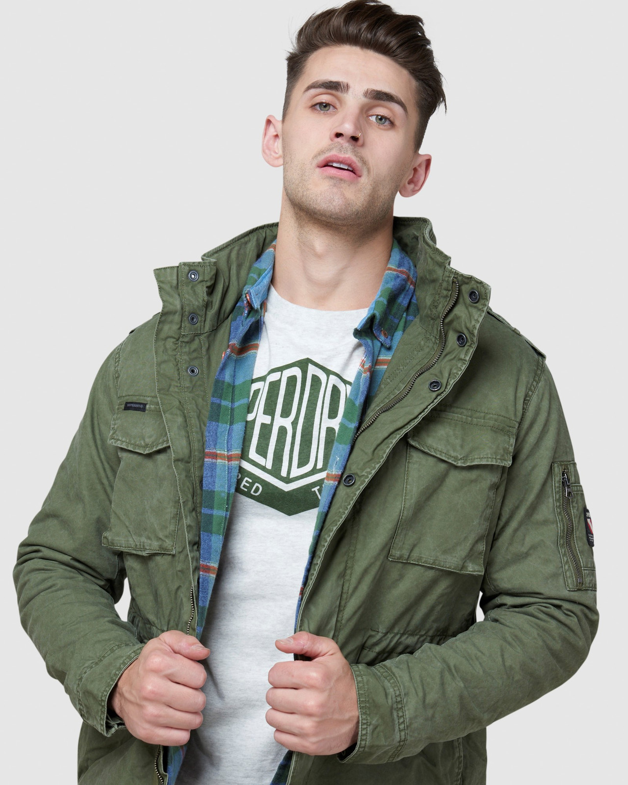 Superdry Mens CLASSIC ROOKIE JACKET Green Military Jackets 4