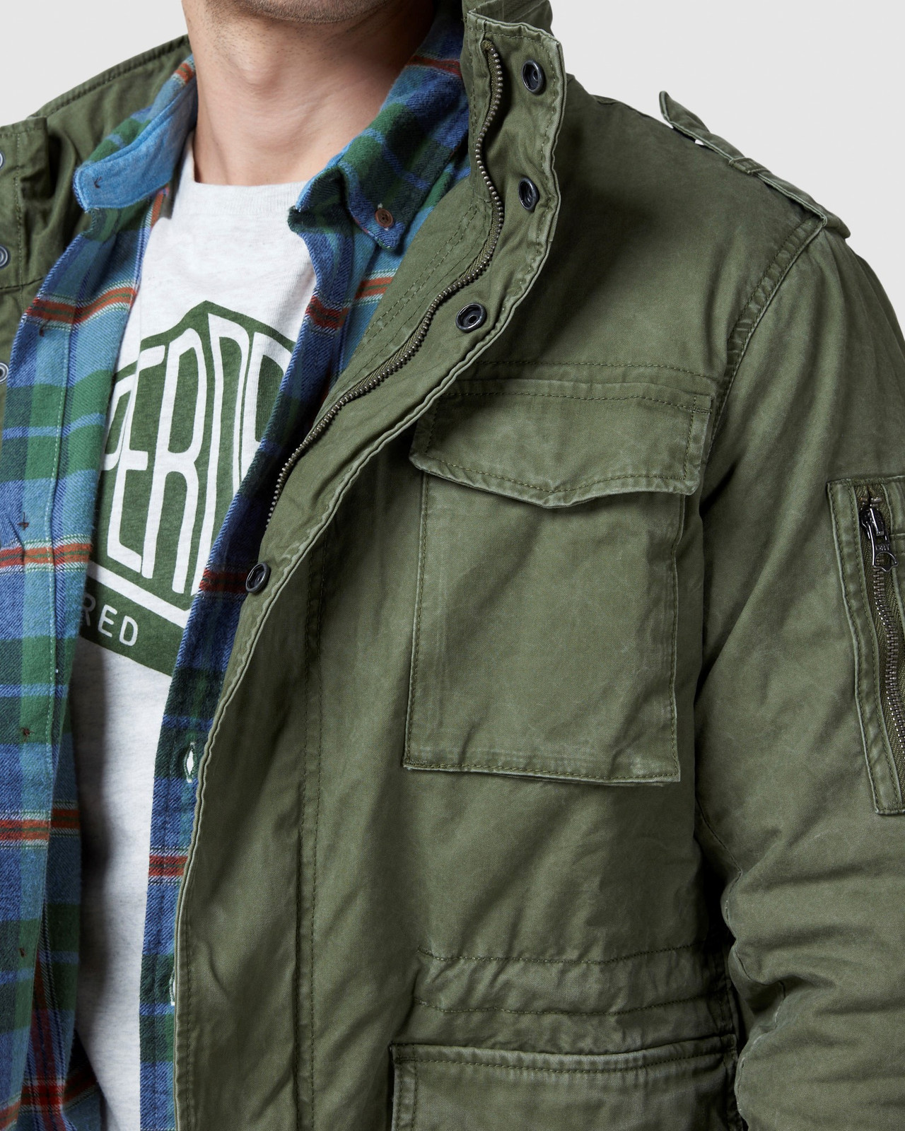 Superdry Mens CLASSIC ROOKIE JACKET Green Military Jackets 5