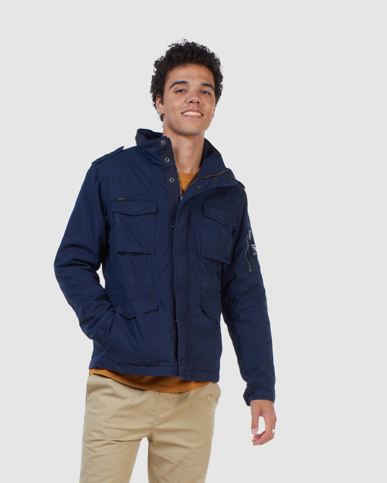 Superdry Mens CLASSIC RECRUIT JACKET Navy Military Jackets 11