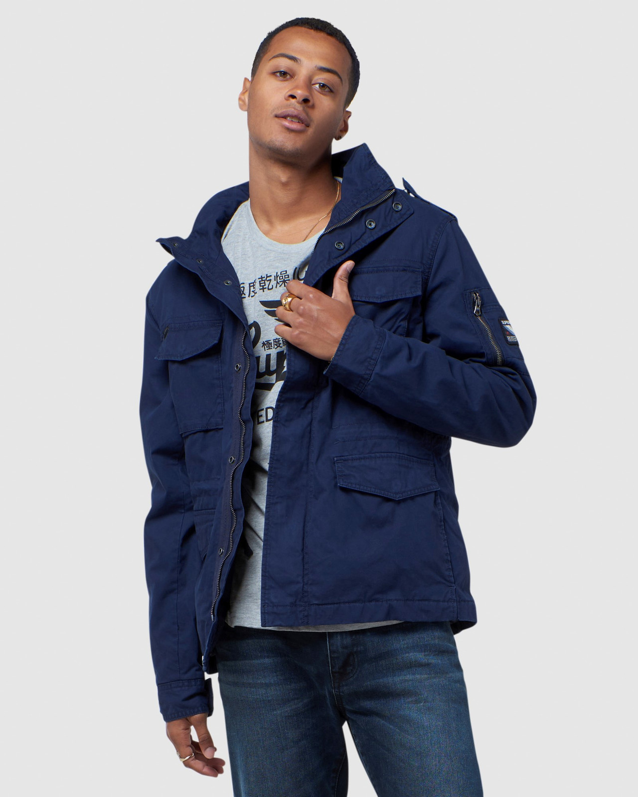 Superdry Mens CLASSIC RECRUIT JACKET Navy Military Jackets 0