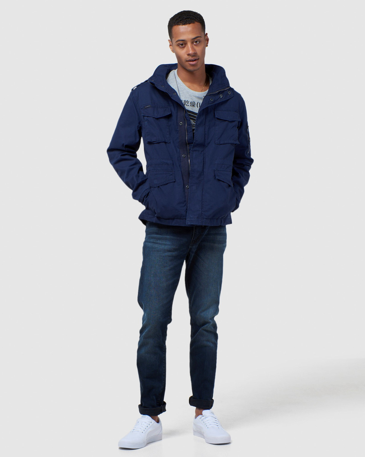 Superdry Mens CLASSIC RECRUIT JACKET Navy Military Jackets 1