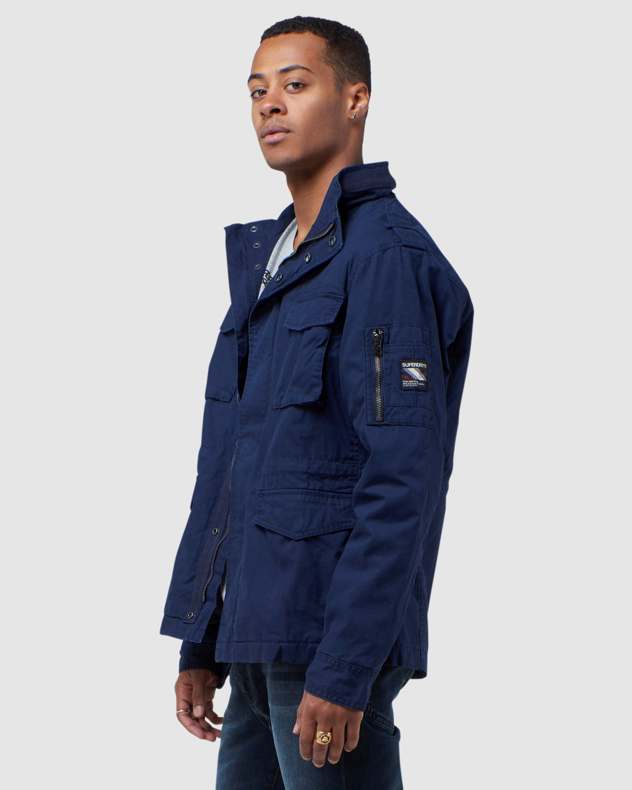 Superdry Mens CLASSIC RECRUIT JACKET Navy Military Jackets 2