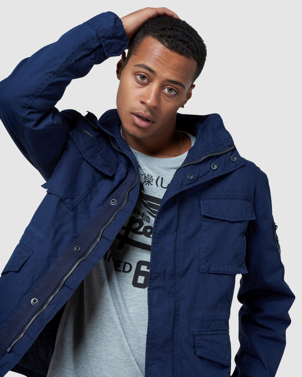 Superdry Mens CLASSIC RECRUIT JACKET Navy Military Jackets 4