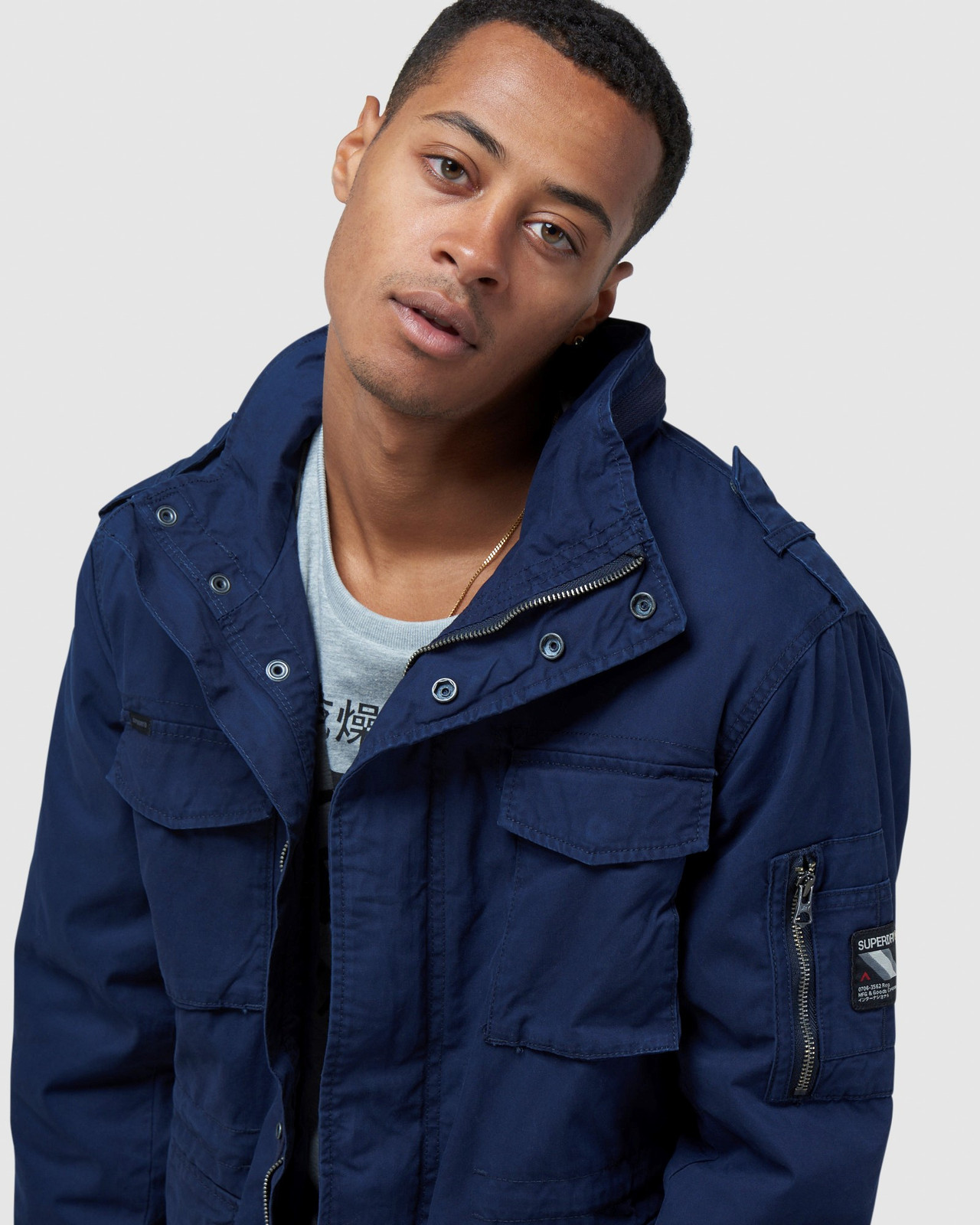 Superdry Mens CLASSIC RECRUIT JACKET Navy Military Jackets 5