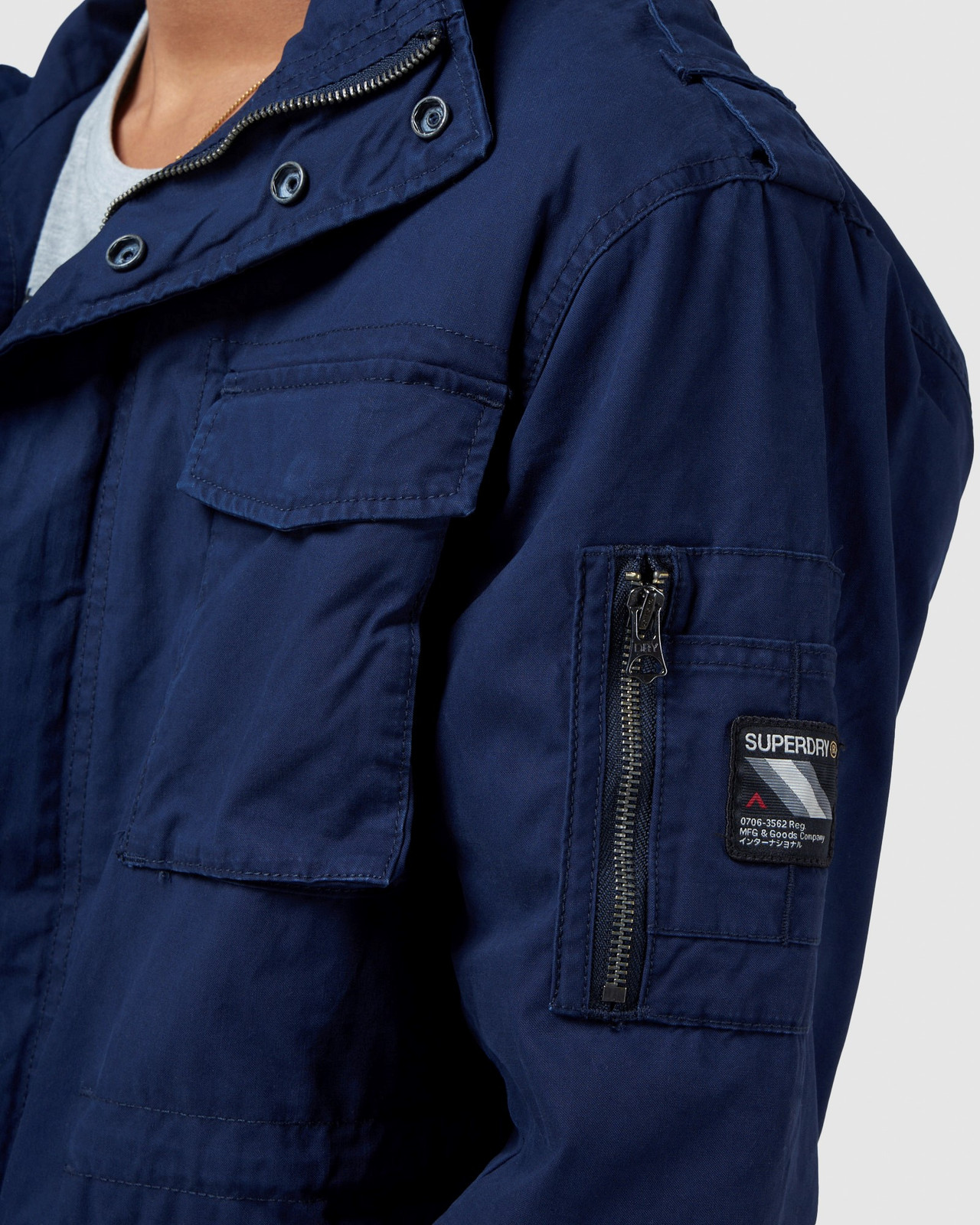 Superdry Mens CLASSIC RECRUIT JACKET Navy Military Jackets 6