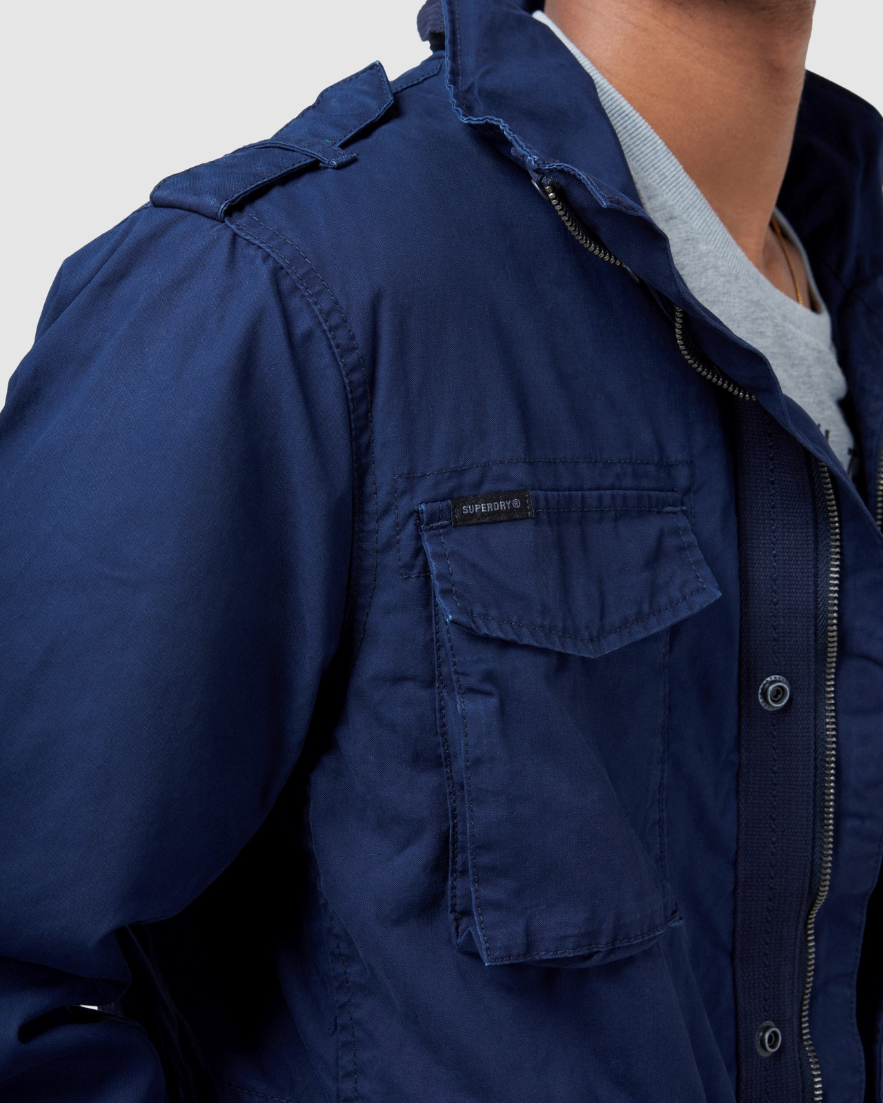 Superdry Mens CLASSIC RECRUIT JACKET Navy Military Jackets 8