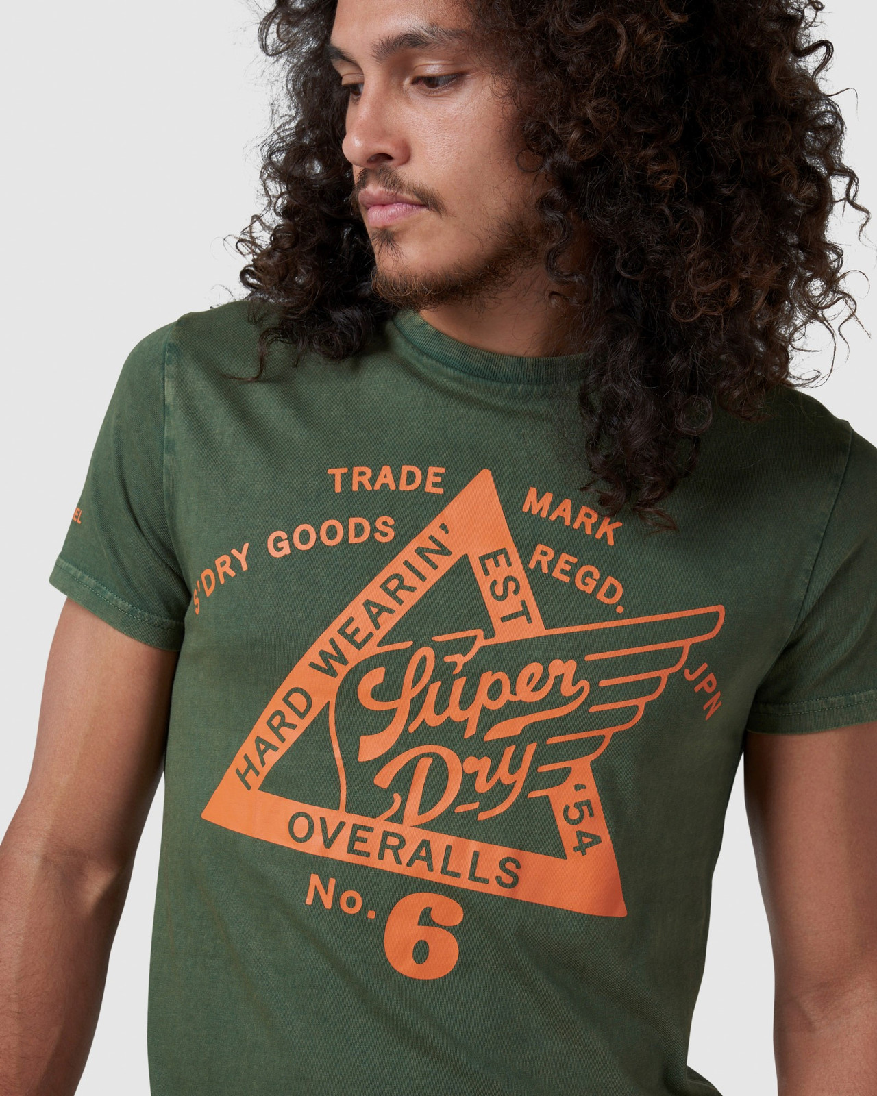 Superdry Mens COPPER LABEL TEE Green Printed T Shirts 5