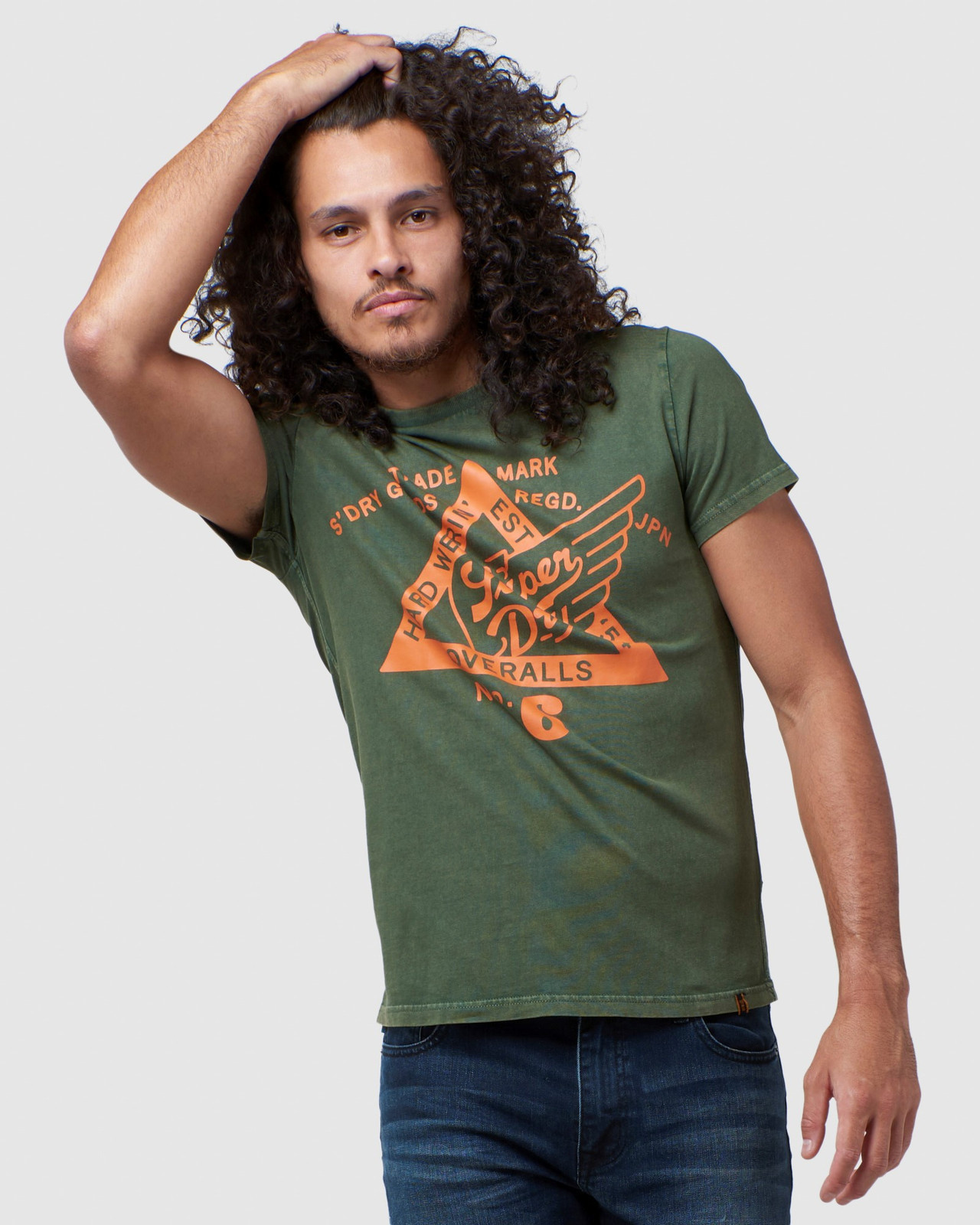 Superdry Mens COPPER LABEL TEE Green Printed T Shirts 0