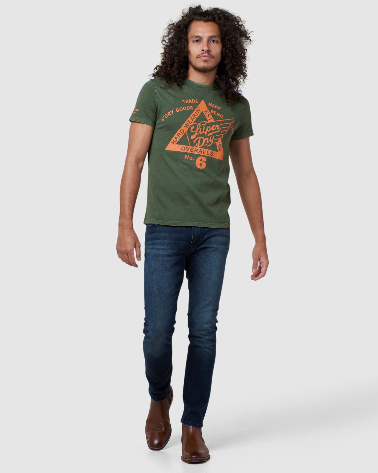 Superdry Mens COPPER LABEL TEE Green Printed T Shirts 1