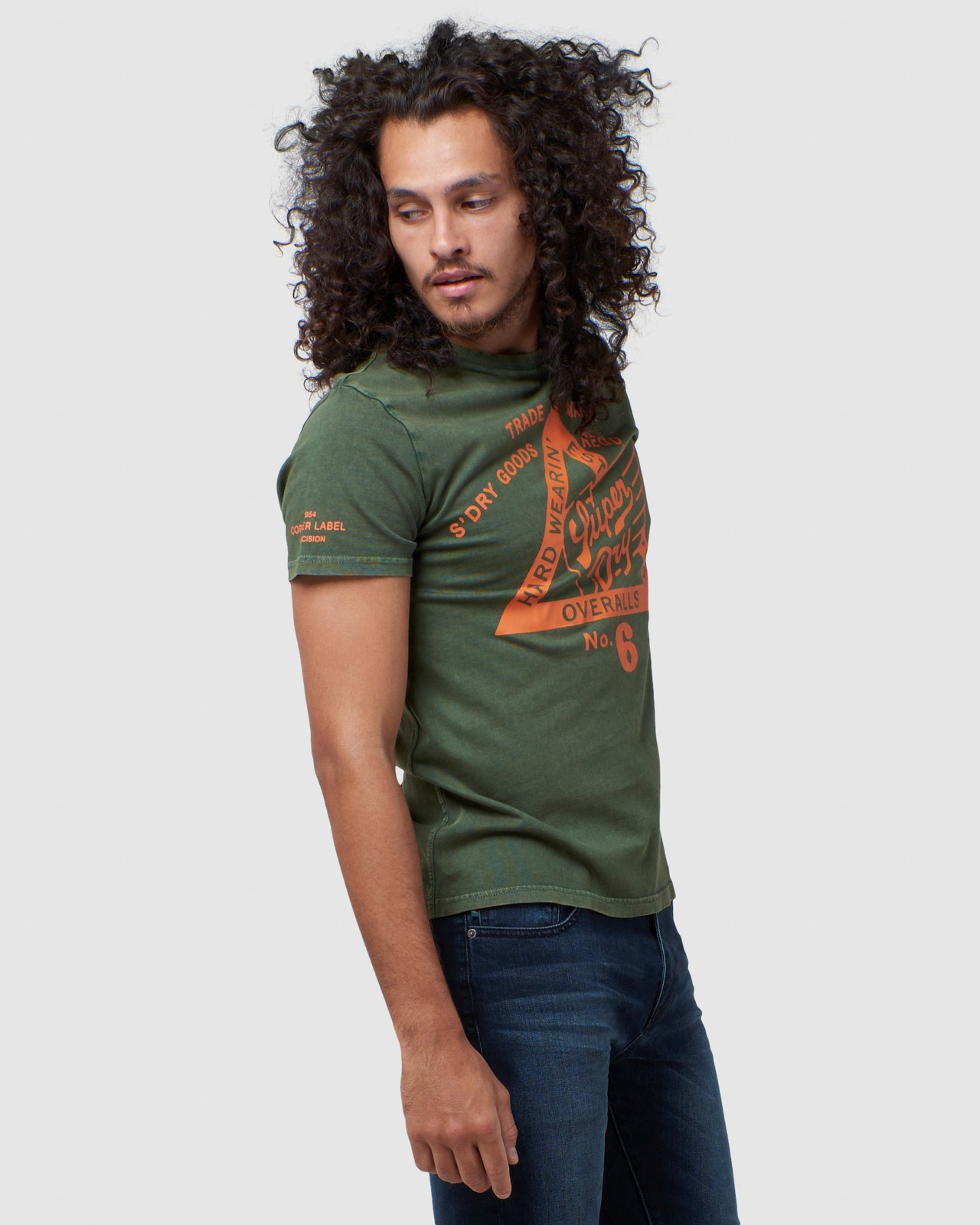 Superdry Mens COPPER LABEL TEE Green Printed T Shirts 2
