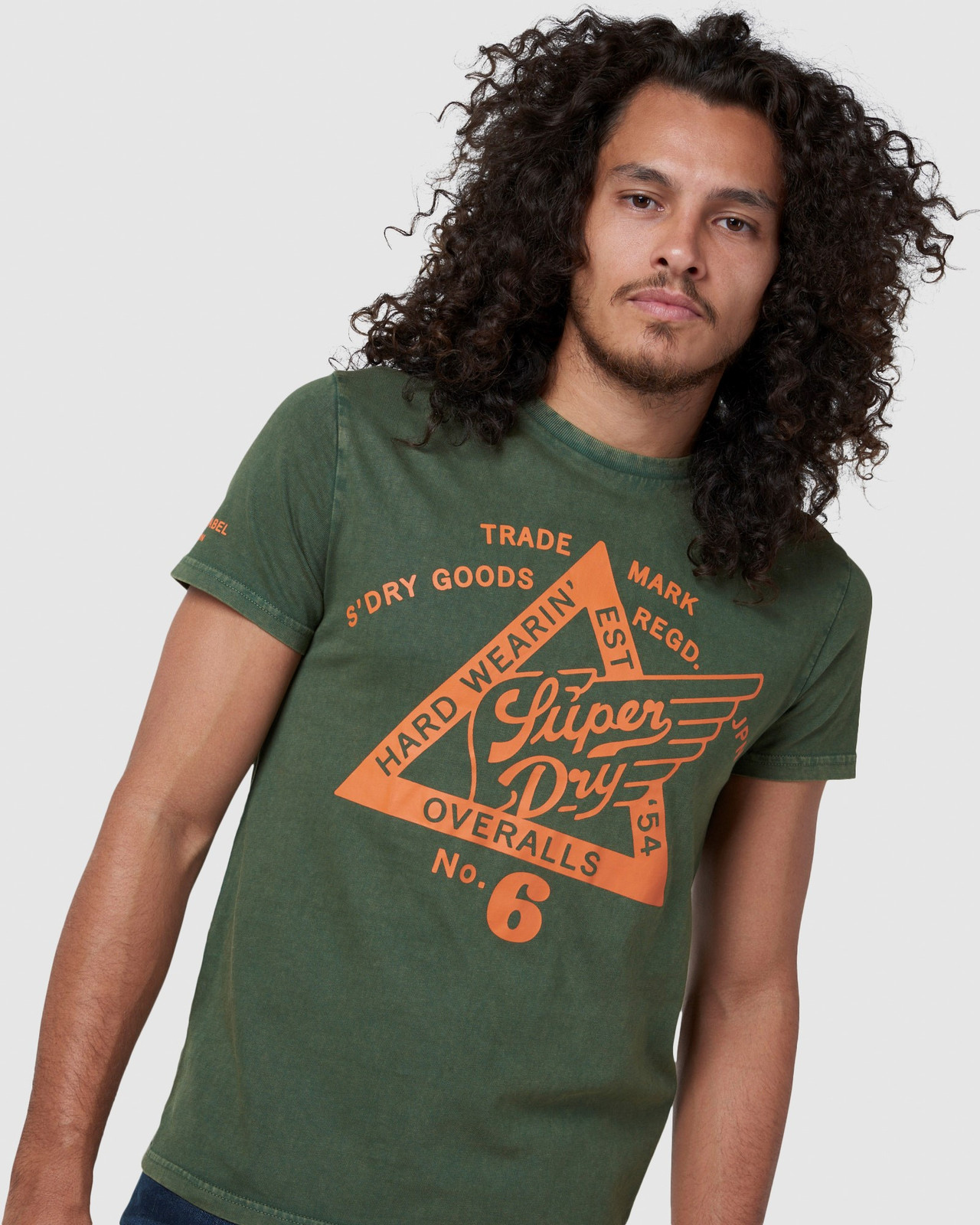 Superdry Mens COPPER LABEL TEE Green Printed T Shirts 4
