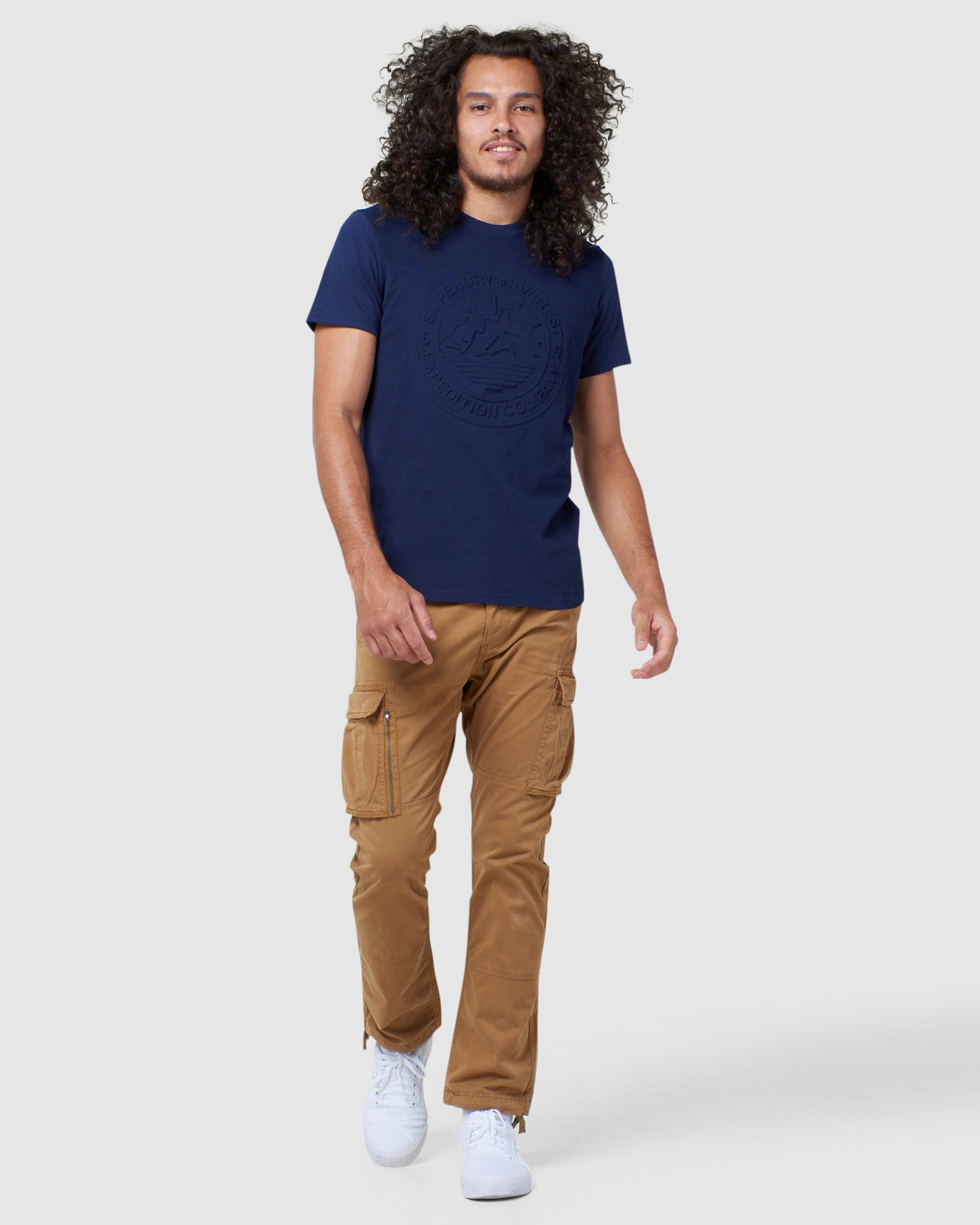 Superdry Mens EVEREST TEE Navy Printed T Shirts 1
