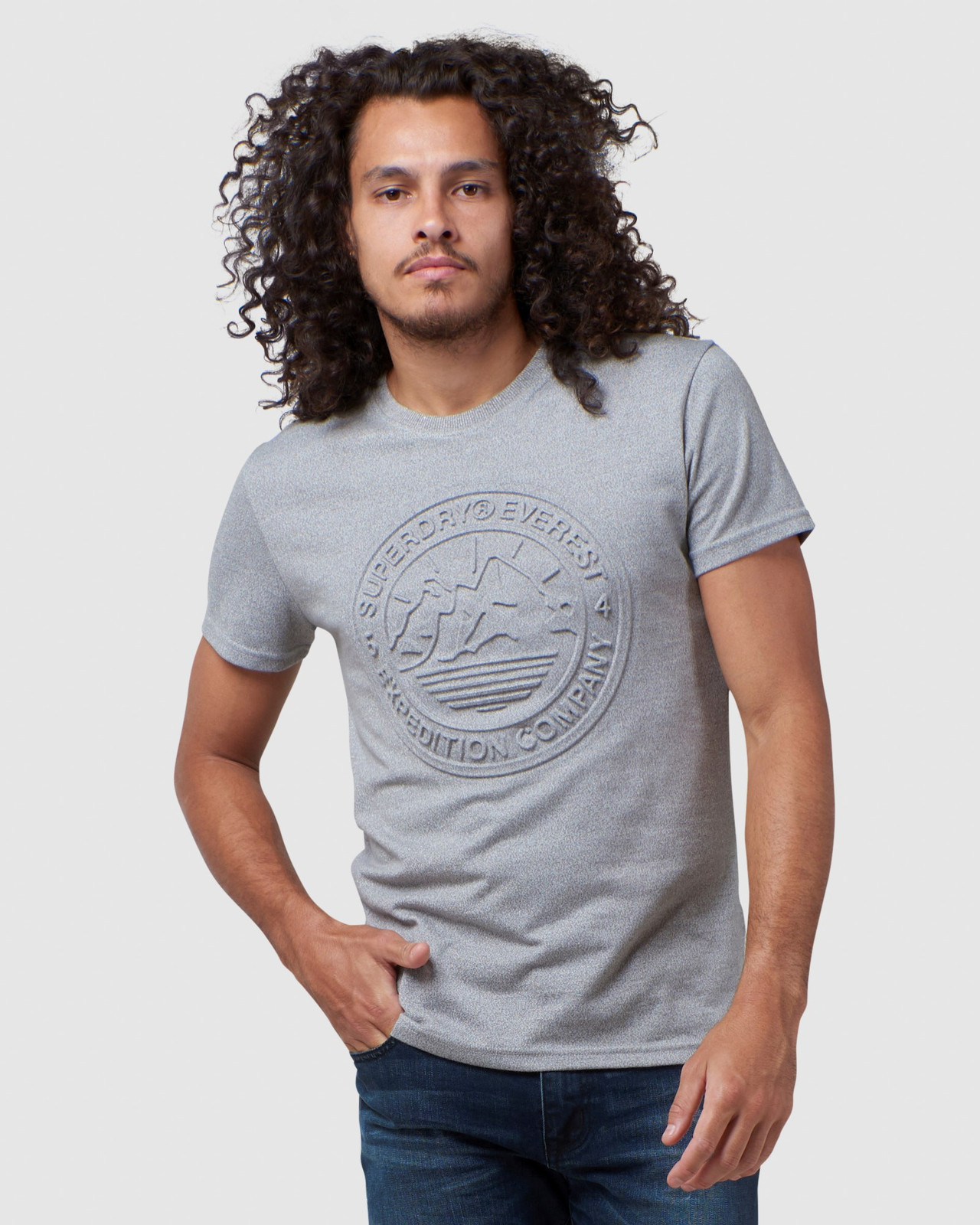 Superdry Mens EVEREST TEE Grey Printed T Shirts 0