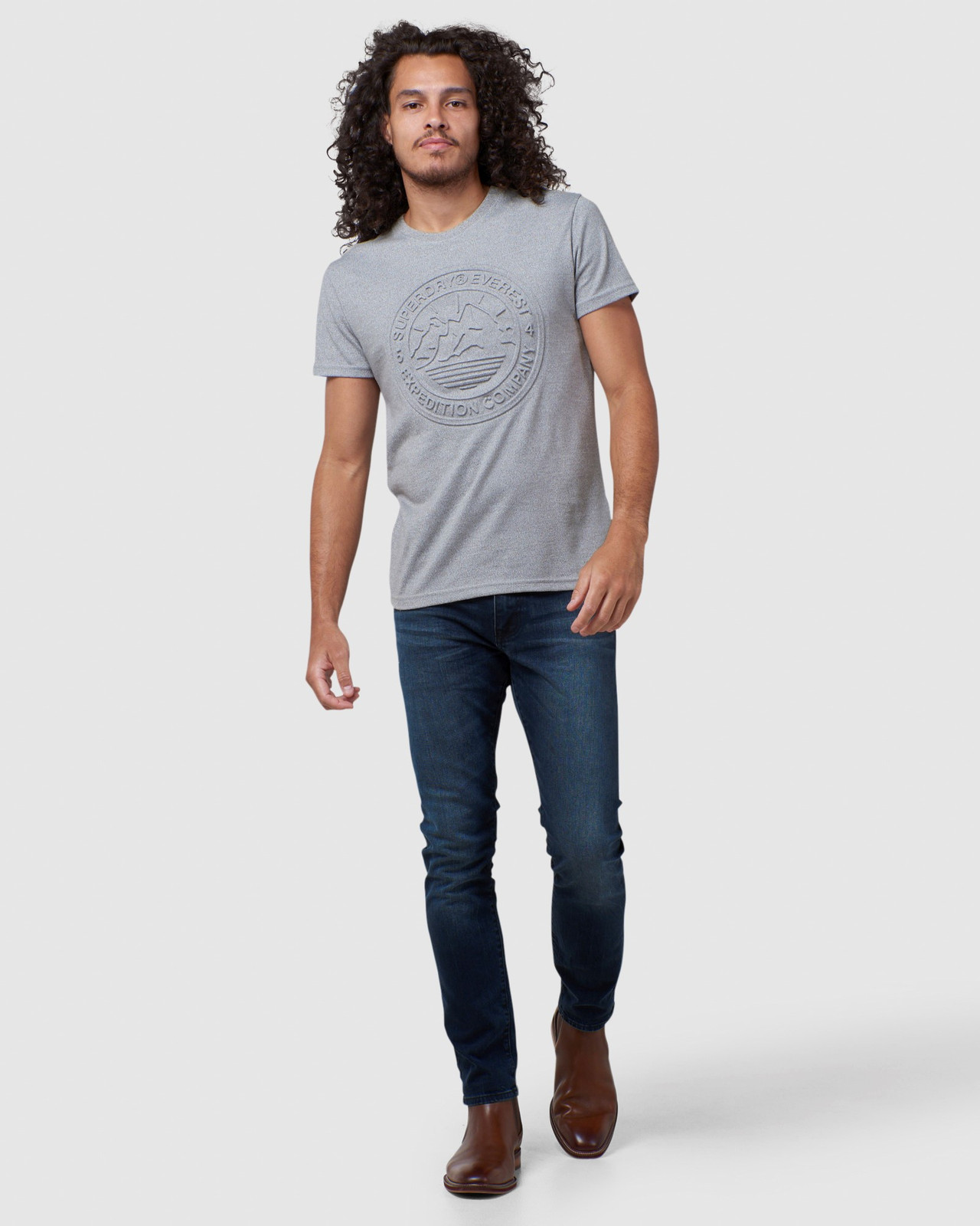 Superdry Mens EVEREST TEE Grey Printed T Shirts 1