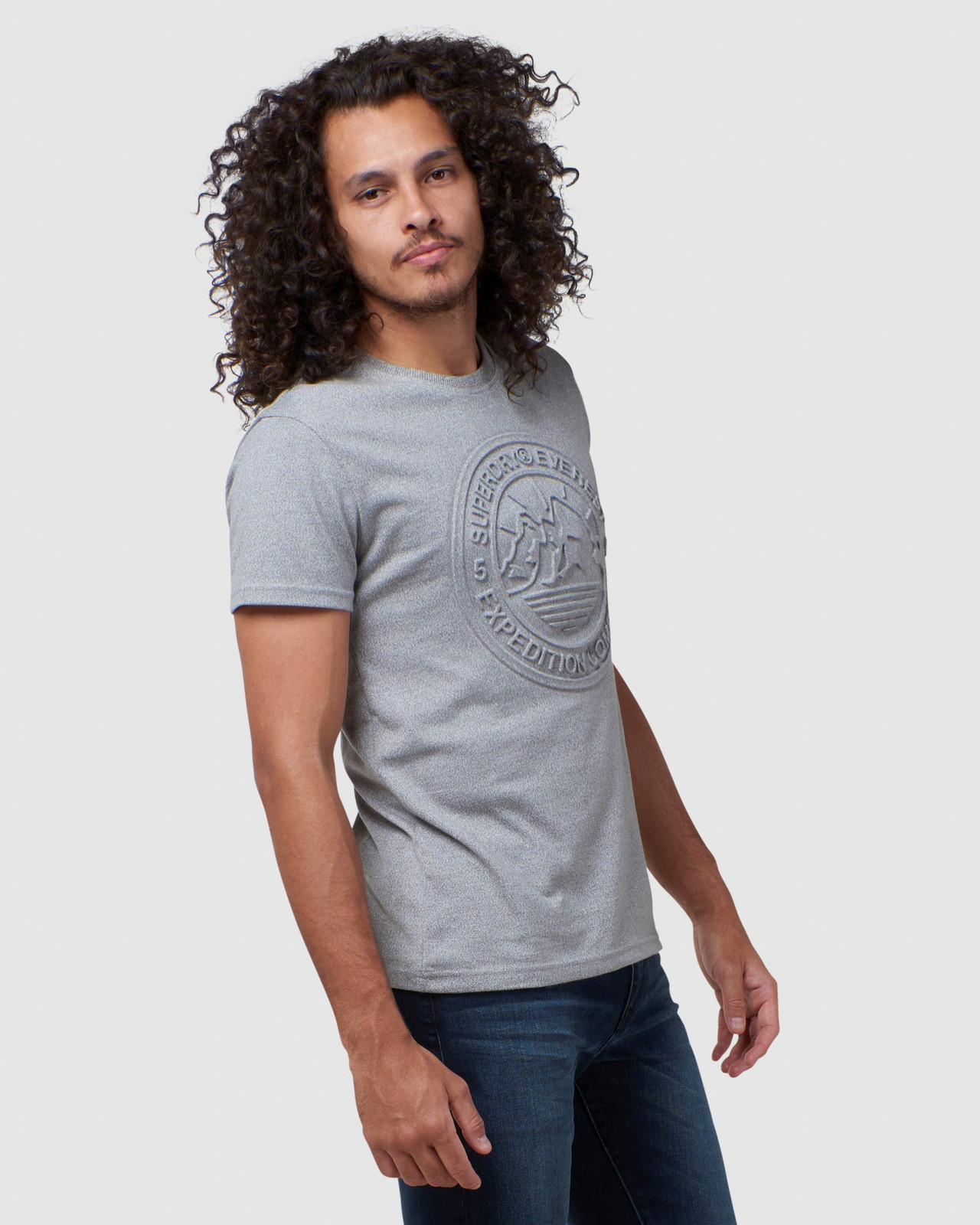 Superdry Mens EVEREST TEE Grey Printed T Shirts 2