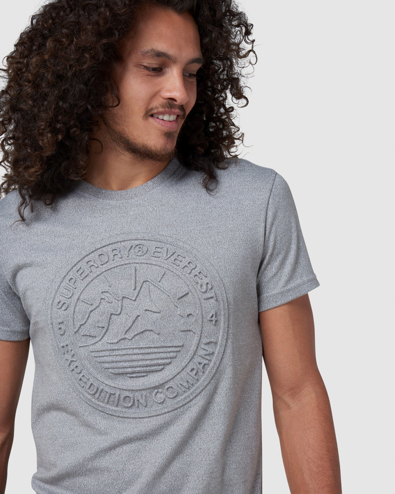 Superdry Mens EVEREST TEE Grey Printed T Shirts 5