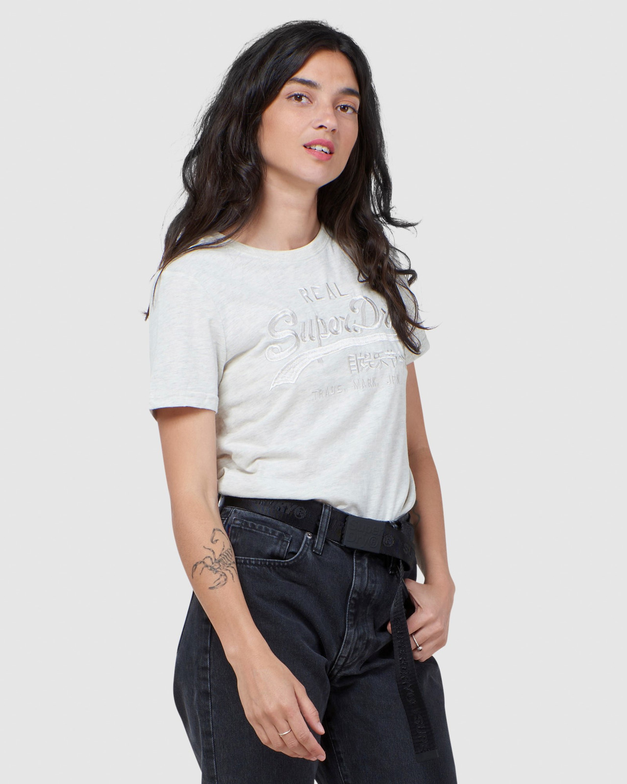 Superdry Womens Vintage Logo Tonal Embroidered Tee Printed T Shirts 0
