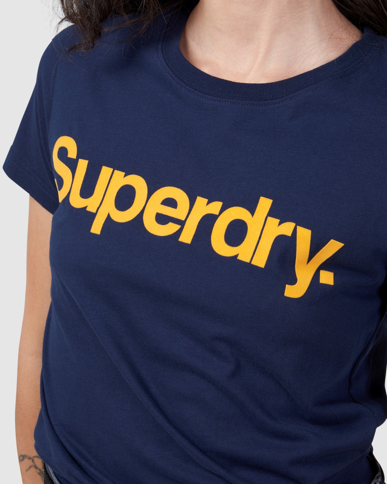 Superdry Womens Core Logo Flock Tee Navy Printed T Shirts 6