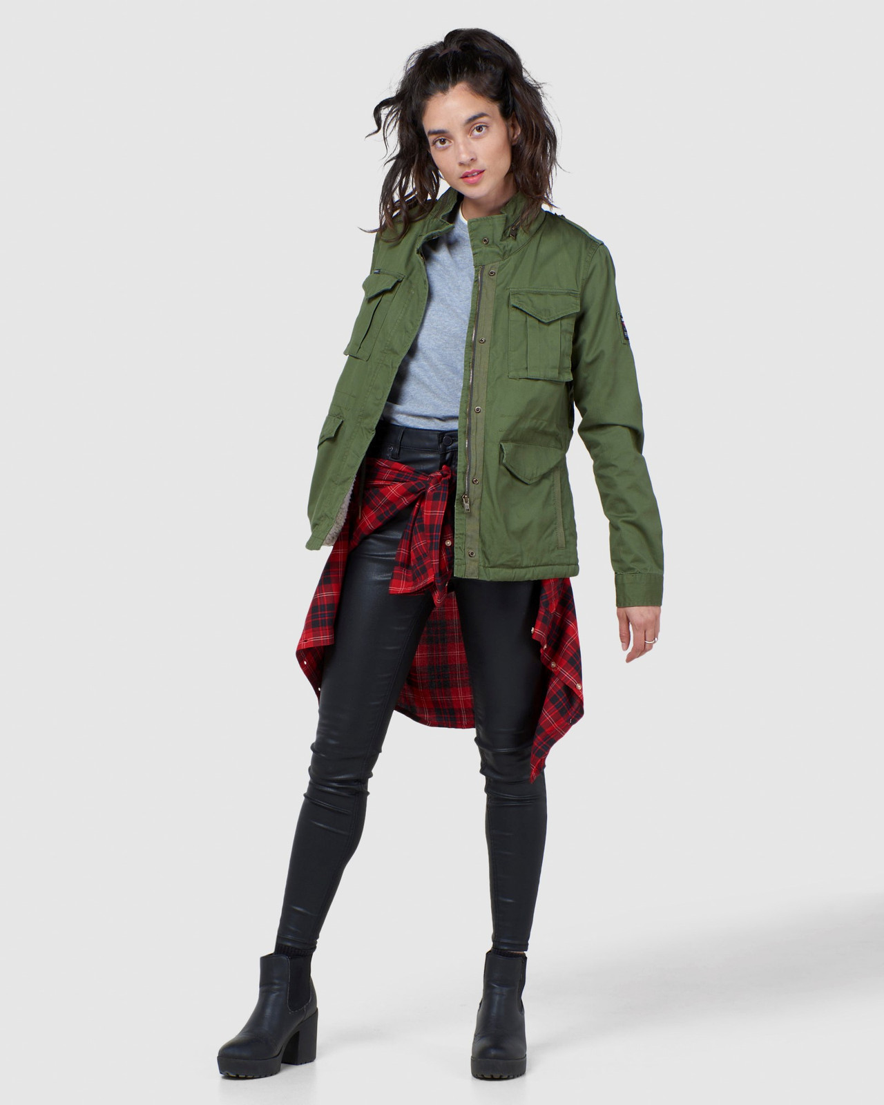 Superdry Womens CLASSIC RECRUIT BORG JACKET Green Military Jackets 1