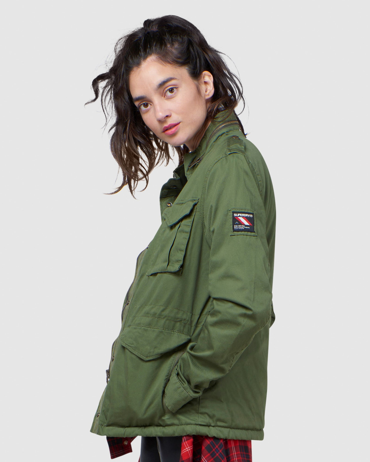 Superdry Womens CLASSIC RECRUIT BORG JACKET Green Military Jackets 2