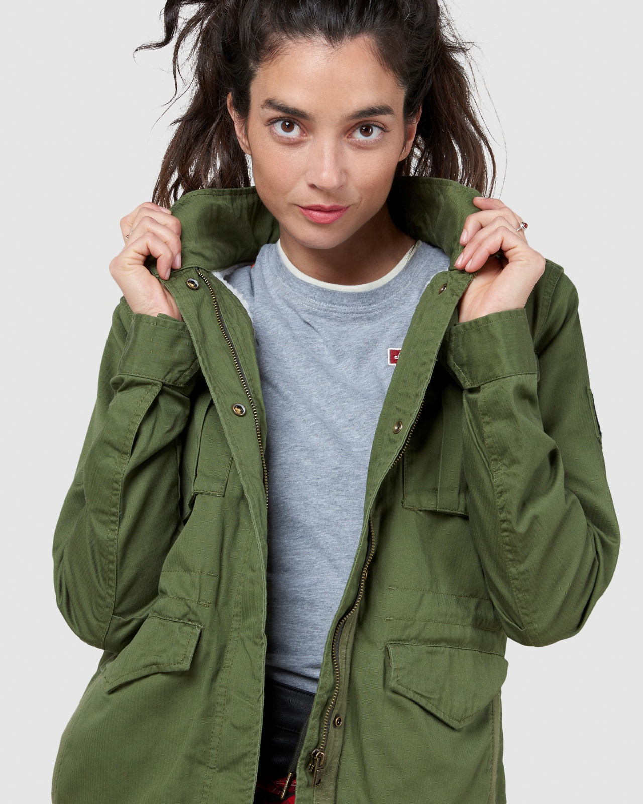 Superdry Womens CLASSIC RECRUIT BORG JACKET Green Military Jackets 5