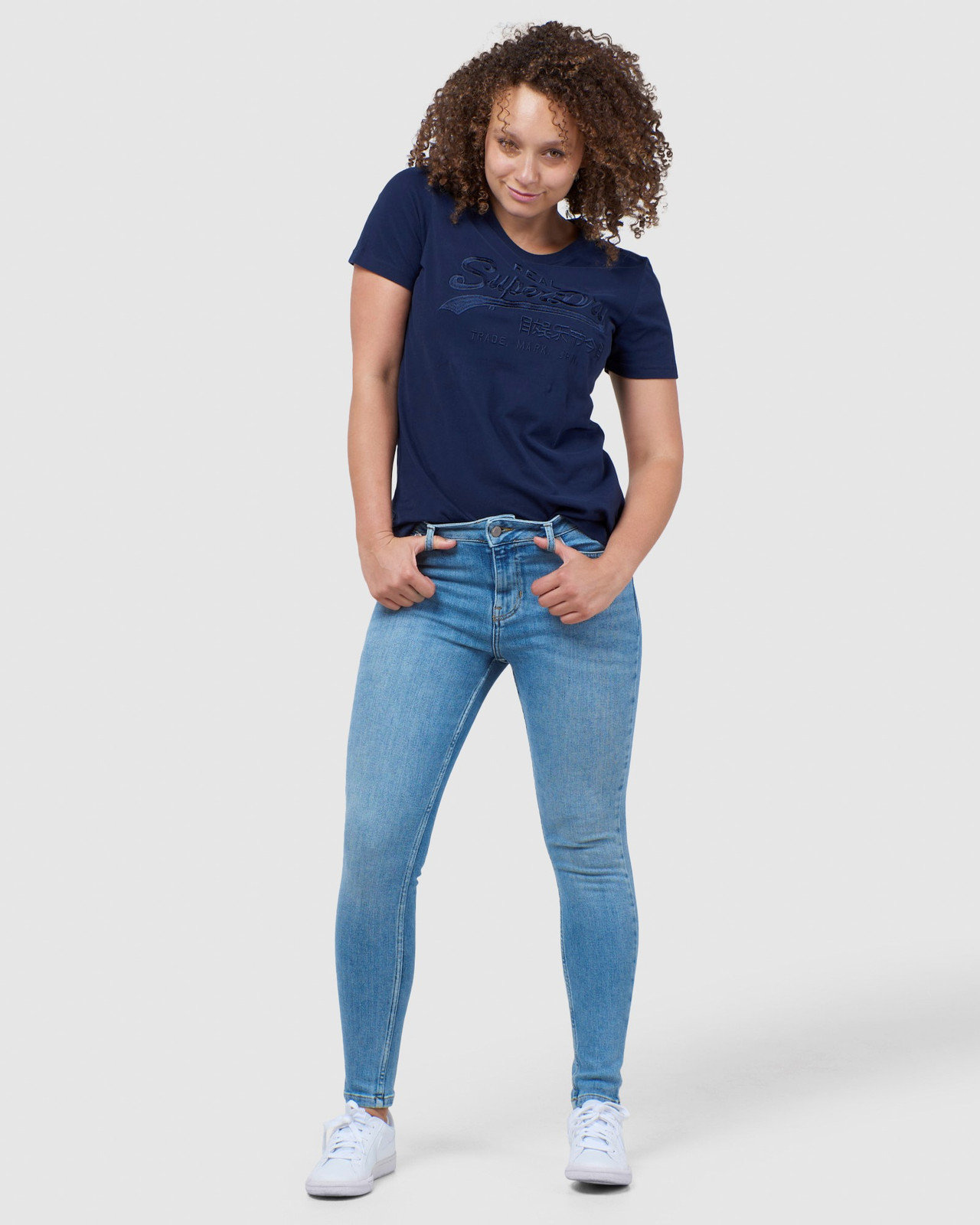 Superdry Womens Vintage Logo Tonal Embroidered Tee Navy Printed T Shirts 1