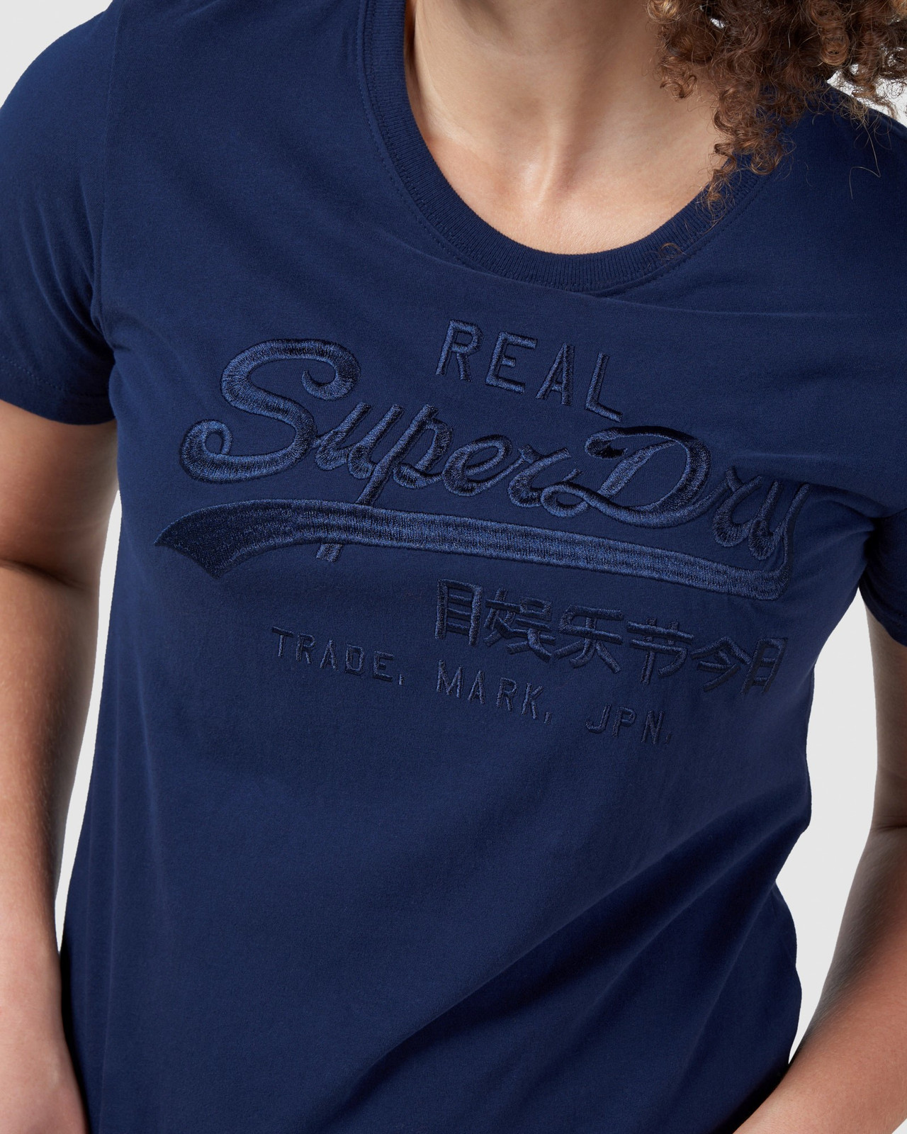 Superdry Womens Vintage Logo Tonal Embroidered Tee Navy Printed T Shirts 6