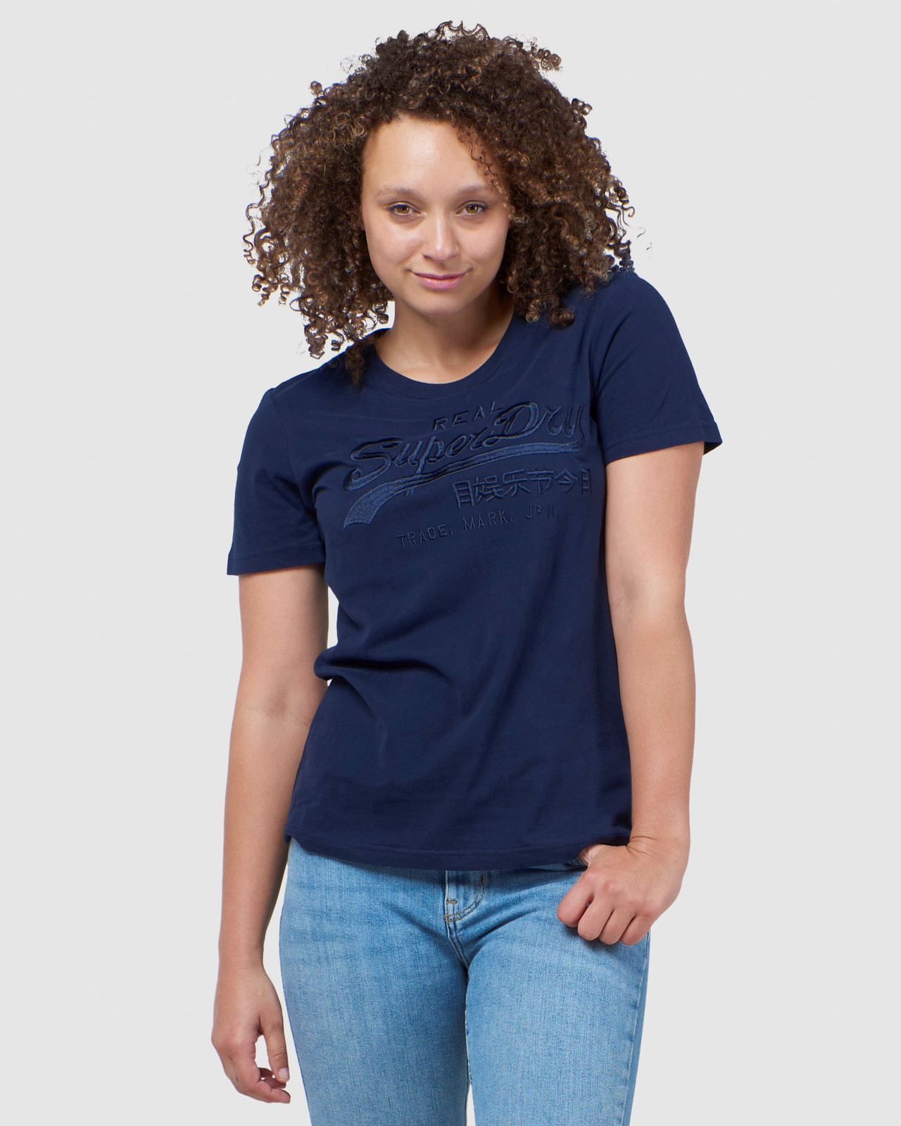 Superdry Womens Vintage Logo Tonal Embroidered Tee Navy Printed T Shirts 0