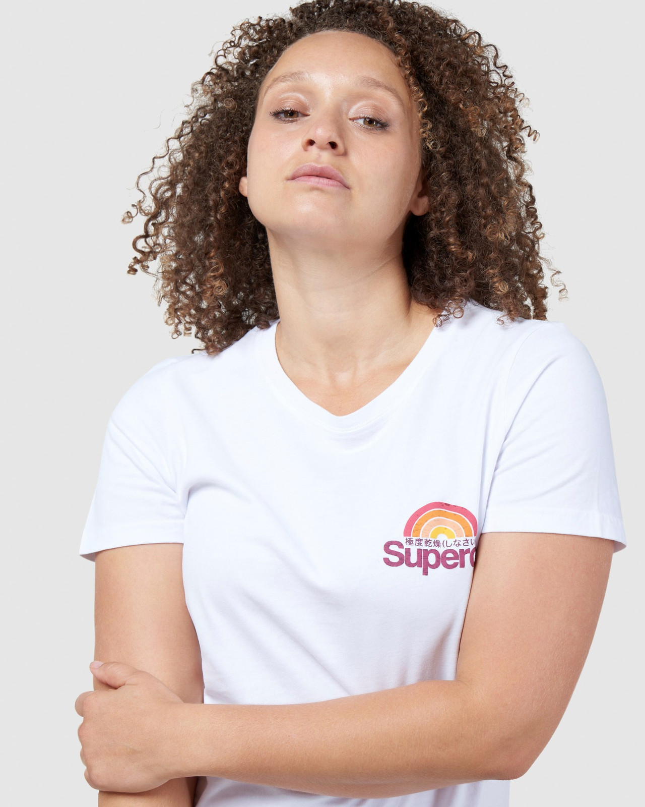 Superdry Womens CL WILDERNESS TEE White Printed T Shirts 4