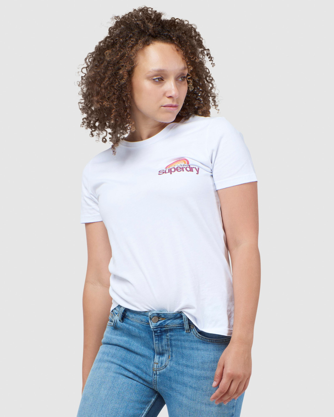 Superdry Womens CL WILDERNESS TEE White Printed T Shirts 0