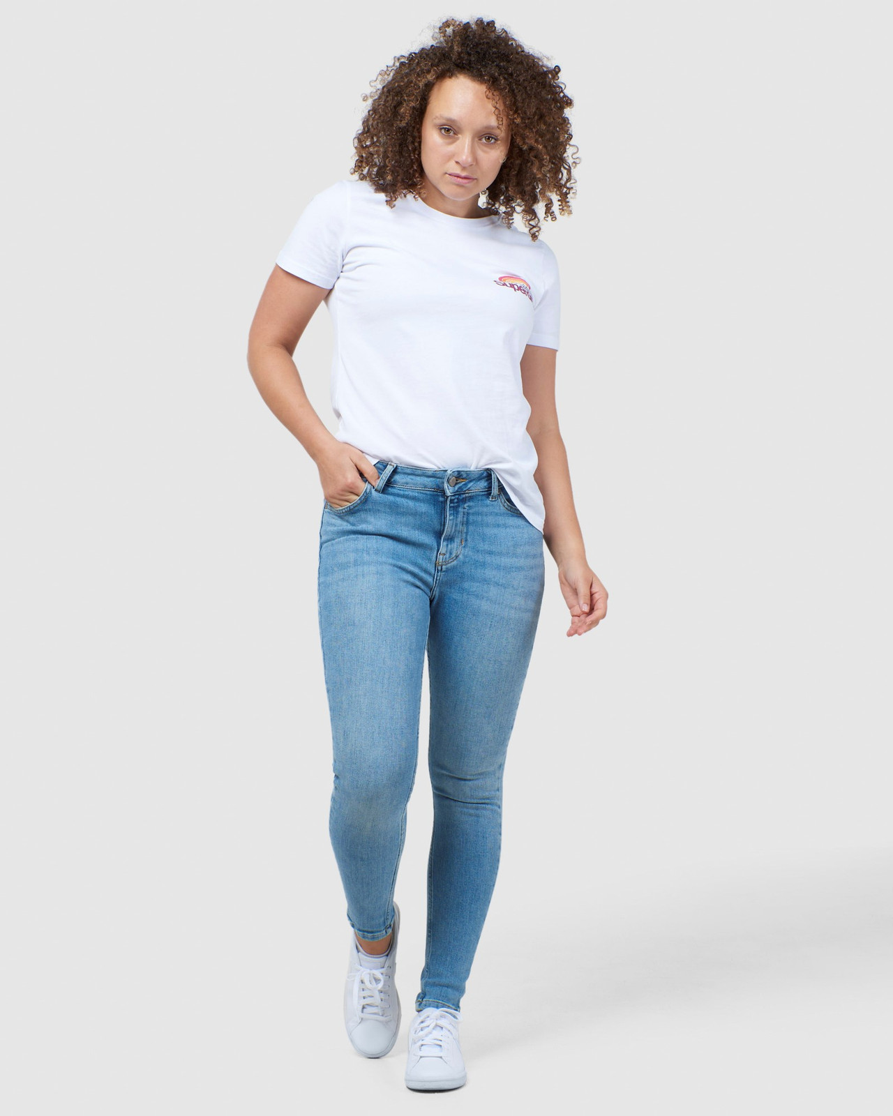 Superdry Womens CL WILDERNESS TEE White Printed T Shirts 1