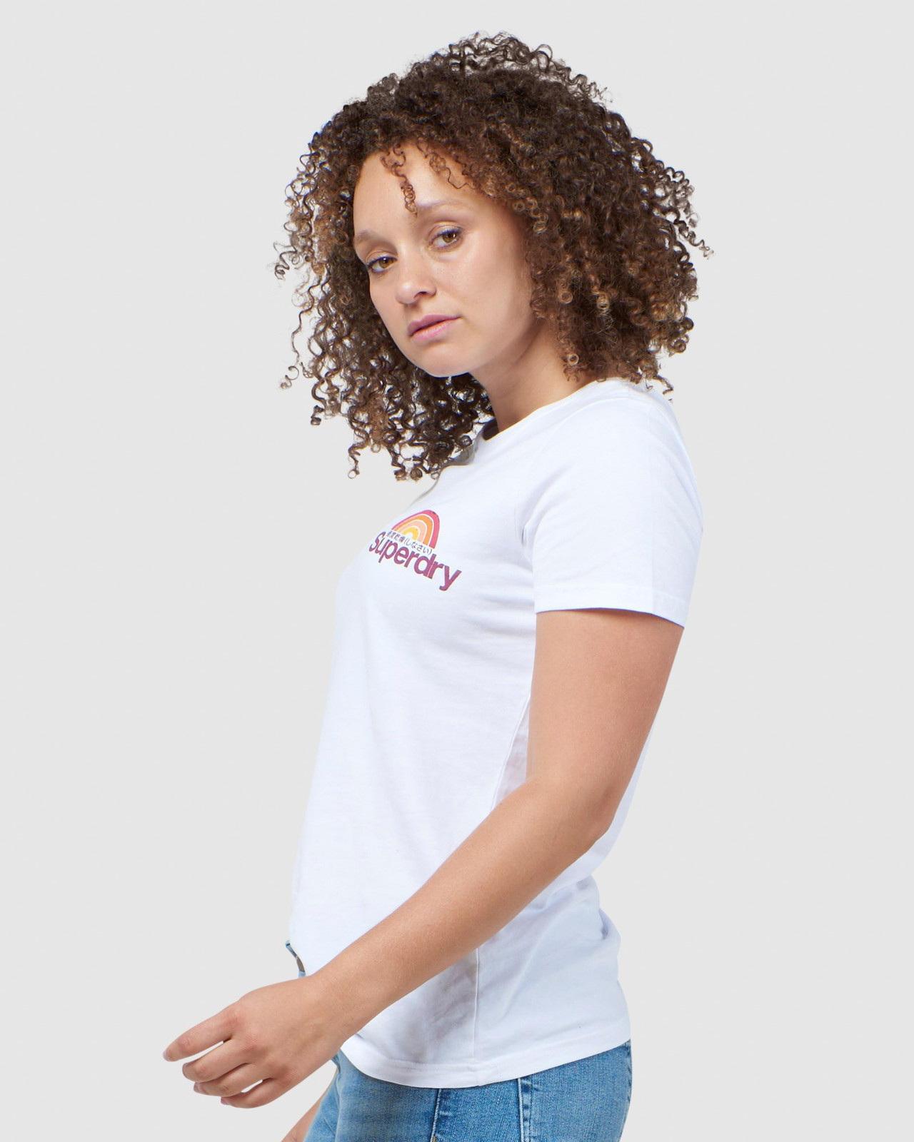 Superdry Womens CL WILDERNESS TEE White Printed T Shirts 2
