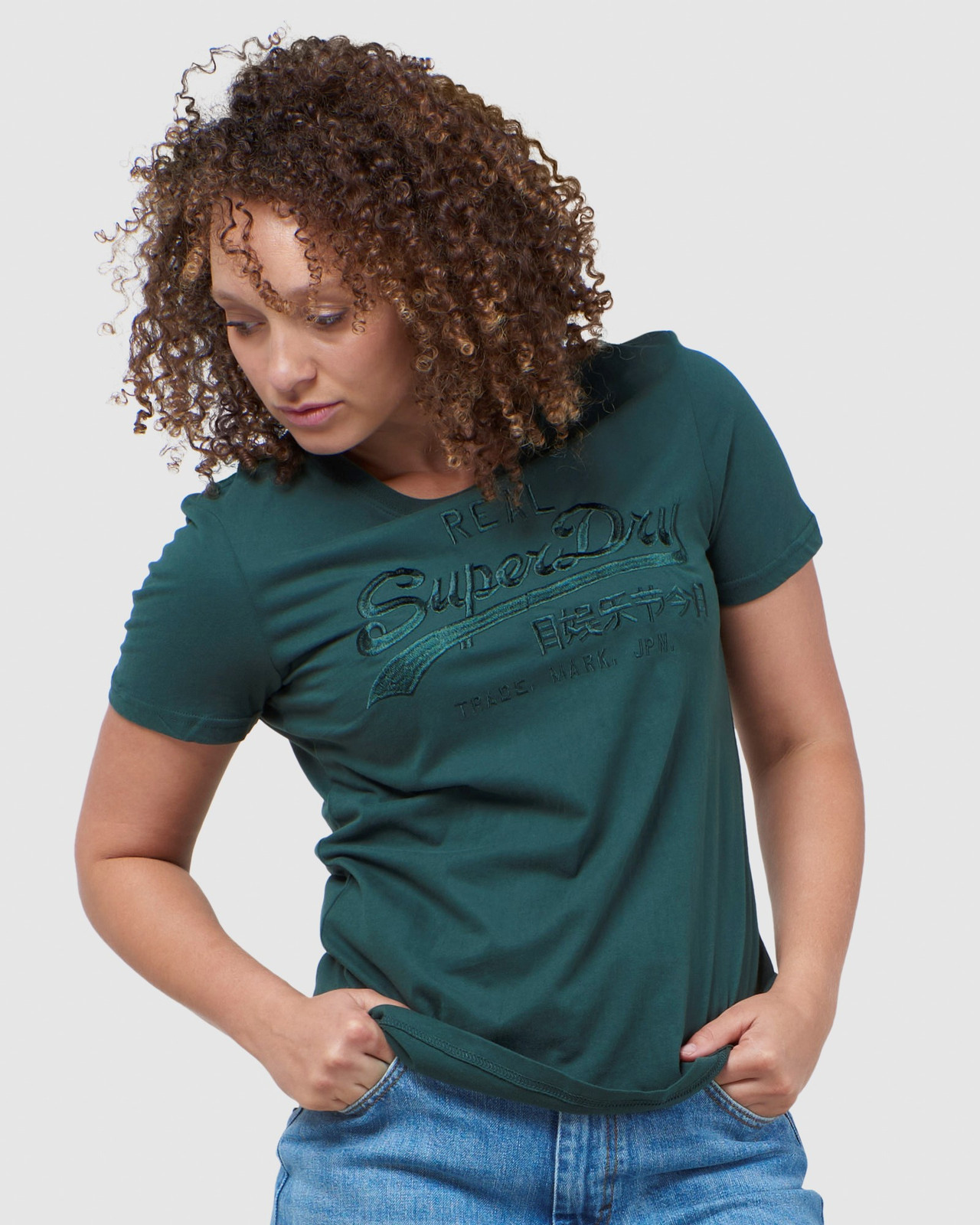 Superdry Womens Vintage Logo Tonal Embroidered Tee Green Printed T Shirts 0