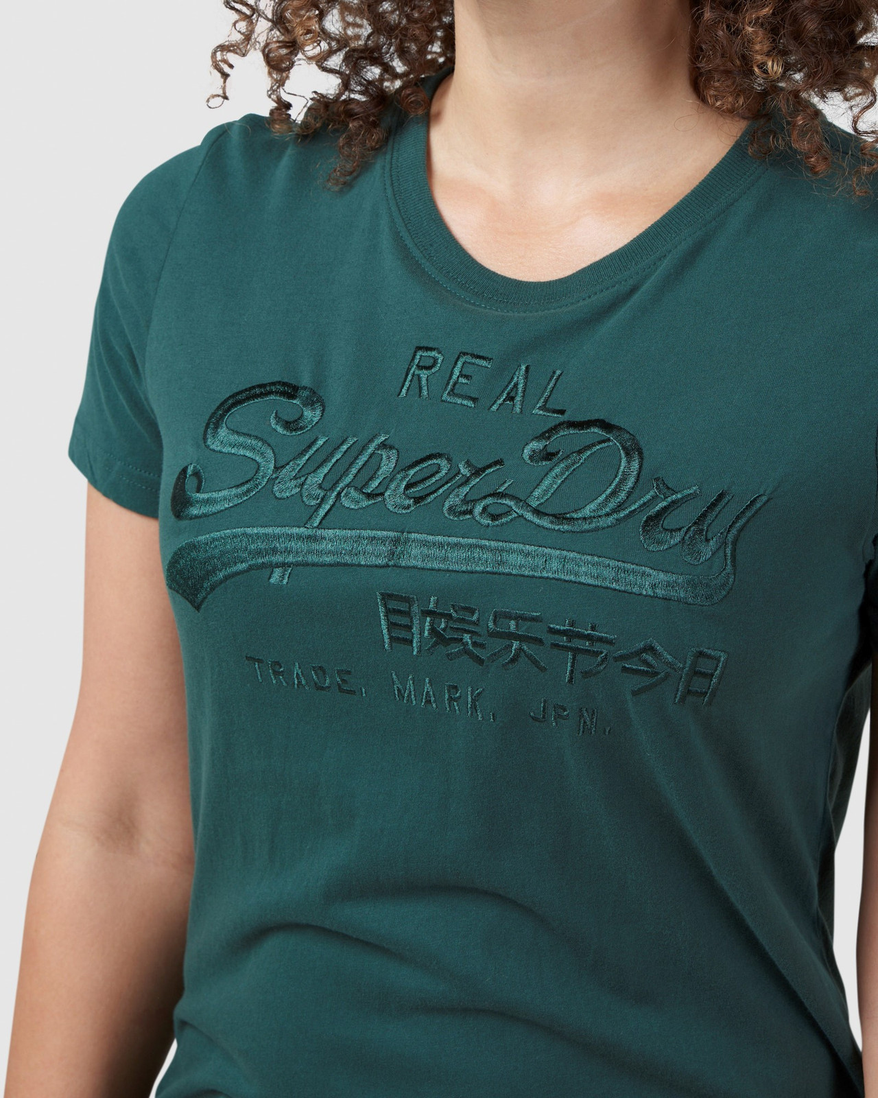 Superdry Womens Vintage Logo Tonal Embroidered Tee Green Printed T Shirts 7