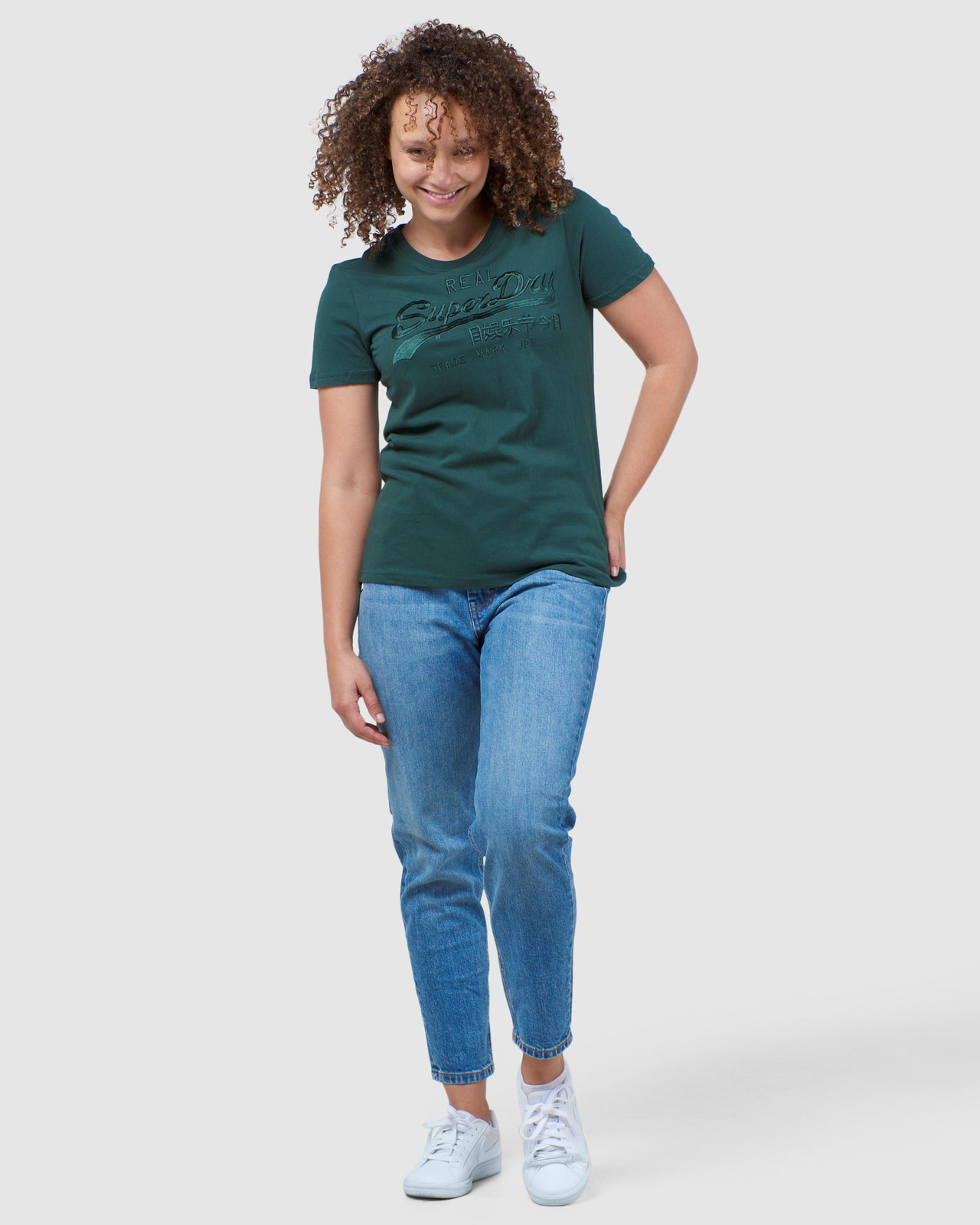 Superdry Womens Vintage Logo Tonal Embroidered Tee Green Printed T Shirts 1