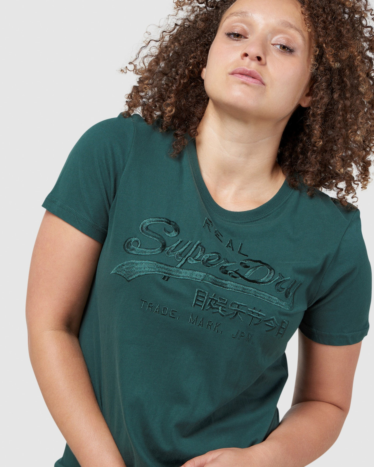 Superdry Womens Vintage Logo Tonal Embroidered Tee Green Printed T Shirts 6