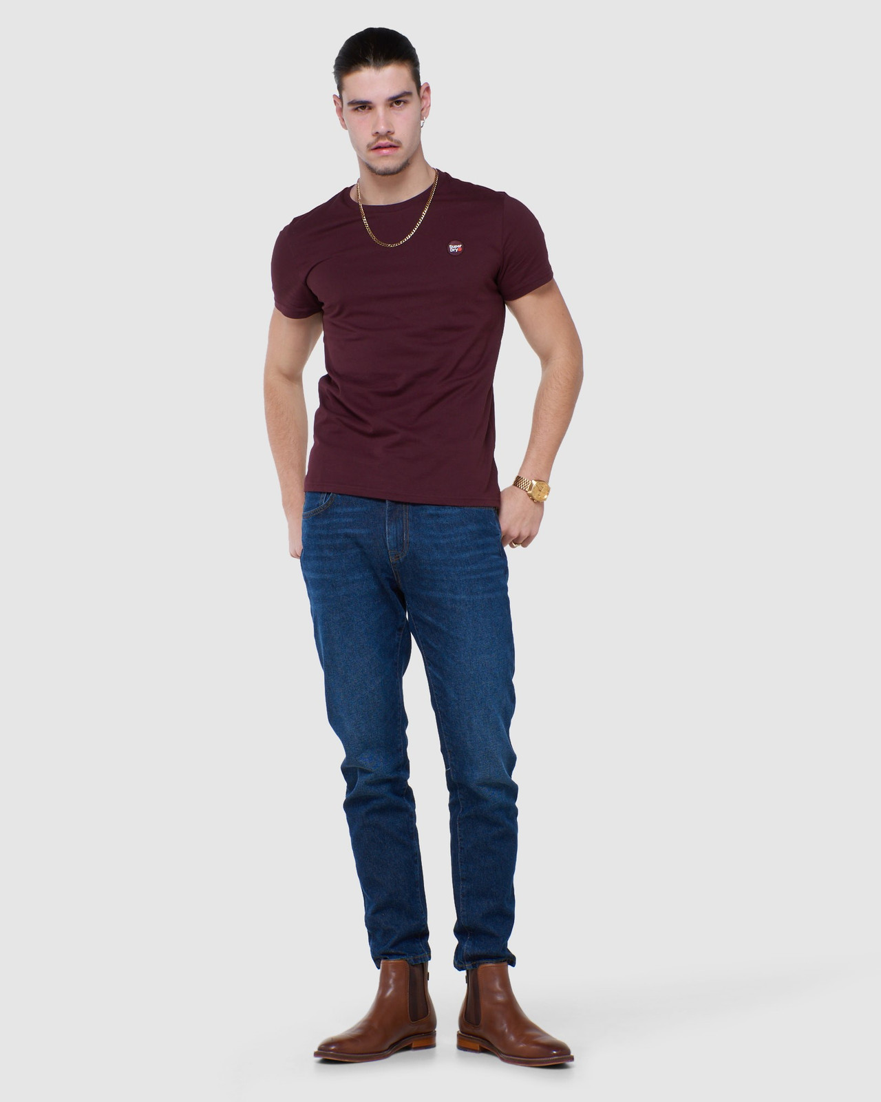 Superdry Mens COLLECTIVE TEE Purple Plain 1