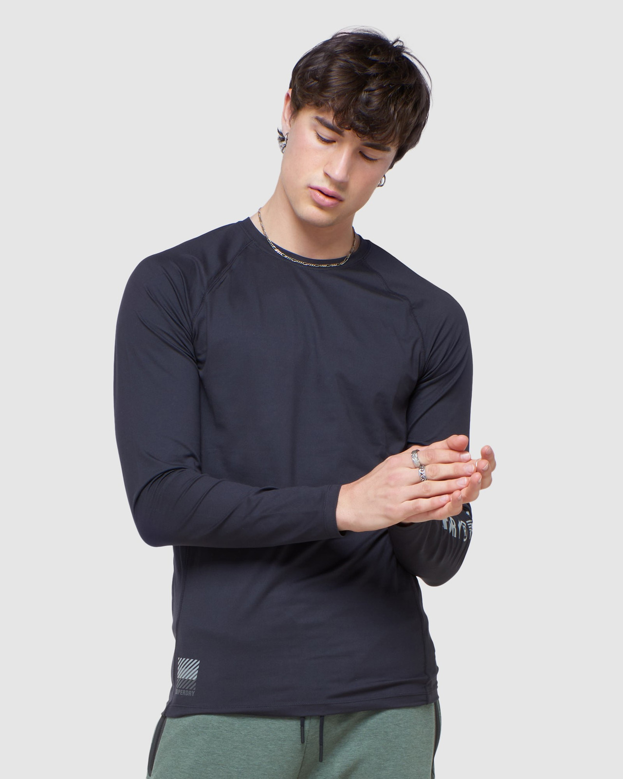 Superdry Mens CREW NECK CARBON BASE LAYER Black Long Sleeve Top 2