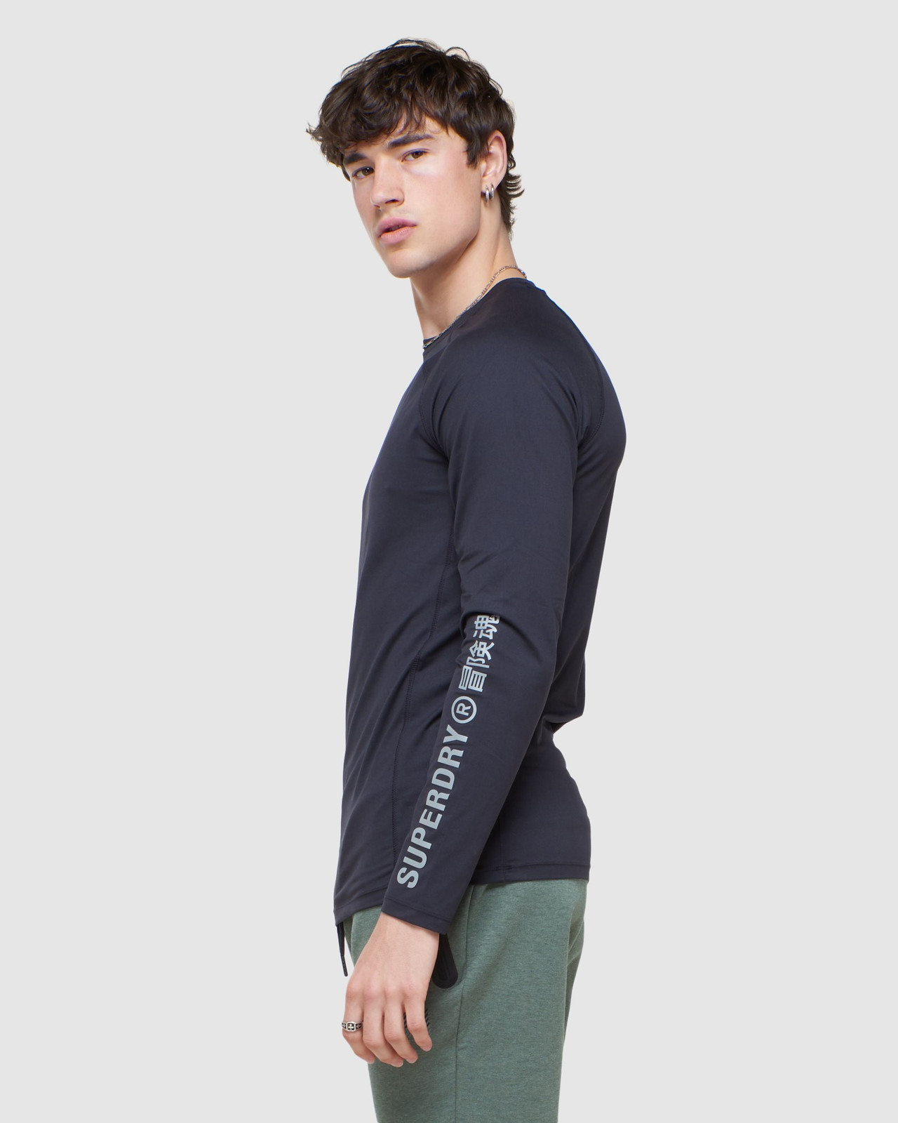 Superdry Mens CREW NECK CARBON BASE LAYER Black Long Sleeve Top 3