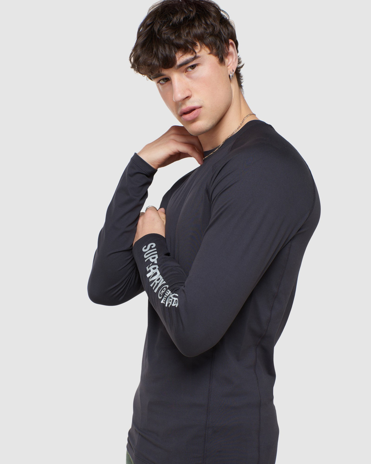 Superdry Mens CREW NECK CARBON BASE LAYER Black Long Sleeve Top 5